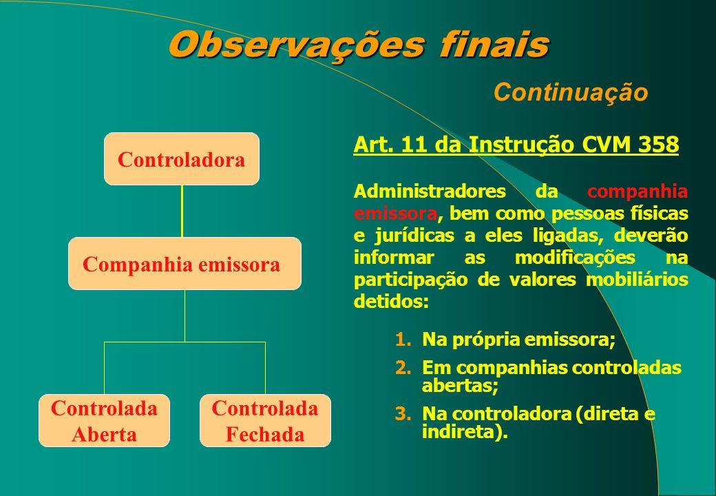 Observações finais Observações finais Continuação Art. 11 da Instrução CVM 358 Administradores da companhia emissora, bem como pessoas físicas e juríd