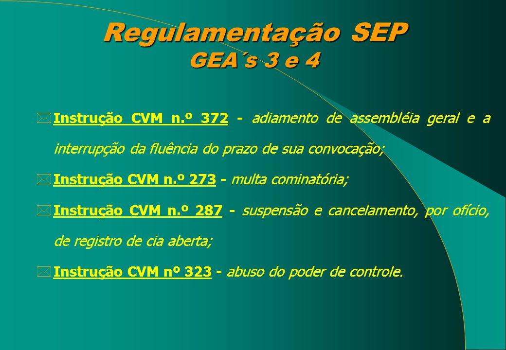 Regulamentação SEP GEA´s 3 e 4 *Instrução CVM n.º 372 - adiamento de assembléia geral e a interrupção da fluência do prazo de sua convocação; *Instruç