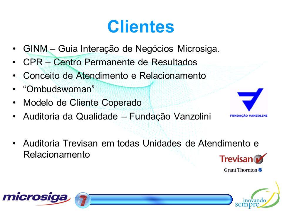 Clientes GINM – Guia Interação de Negócios Microsiga. CPR – Centro Permanente de Resultados Conceito de Atendimento e Relacionamento Ombudswoman Model