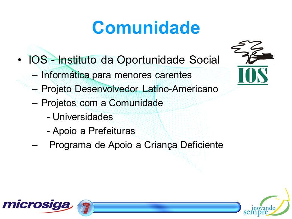 Comunidade IOS - Instituto da Oportunidade Social –Informática para menores carentes –Projeto Desenvolvedor Latino-Americano –Projetos com a Comunidad