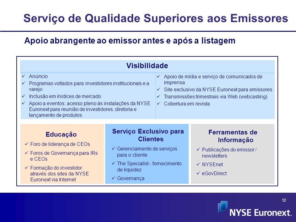 12 Serviço de Qualidade Superiores aos Emissores Apoio de mídia e serviço de comunicados de imprensa Site exclusivo da NYSE Euronext para emissores Tr