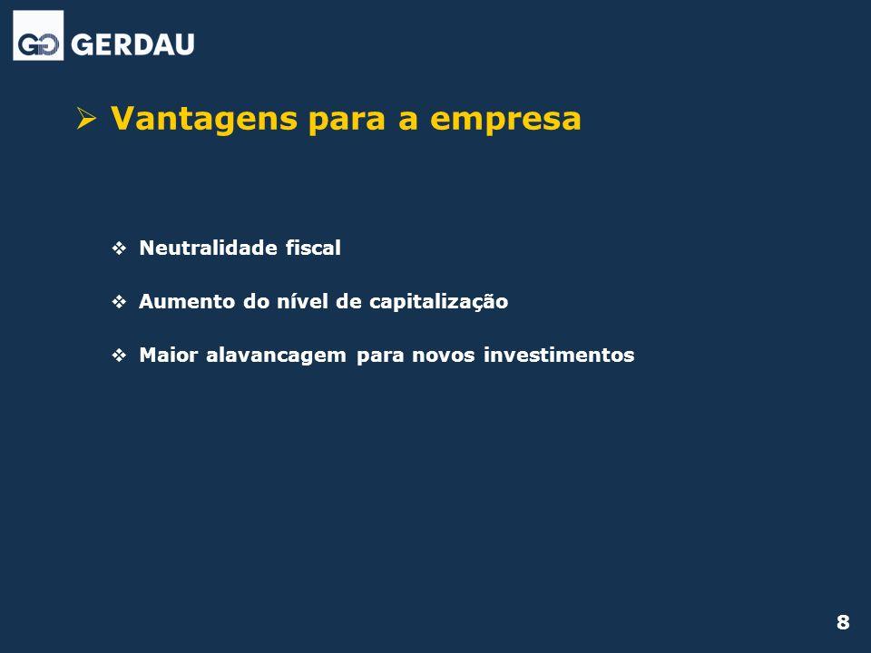 8 Vantagens para a empresa Neutralidade fiscal Aumento do nível de capitalização Maior alavancagem para novos investimentos
