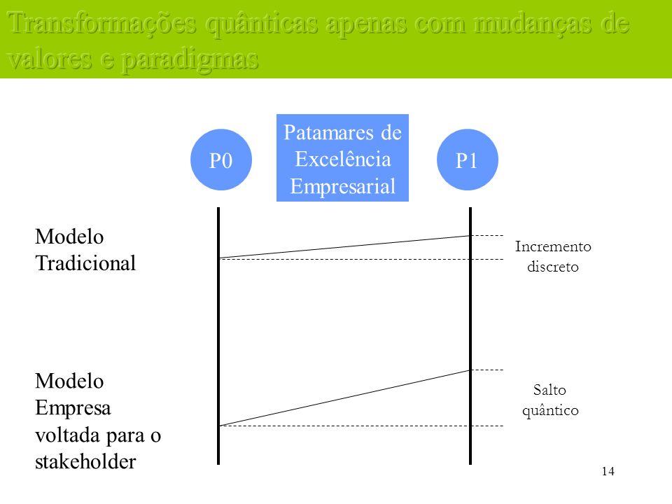 14 P0P1 Modelo Tradicional Modelo Empresa voltada para o stakeholder Incremento discreto Salto quântico Patamares de Excelência Empresarial