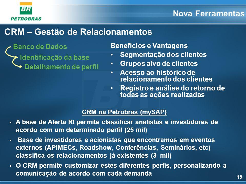 15 CRM – Gestão de Relacionamentos CRM na Petrobras (mySAP) A base de Alerta RI permite classificar analistas e investidores de acordo com um determin