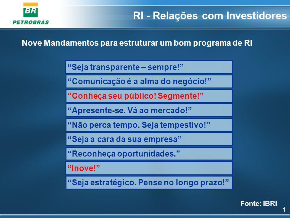 1 RI - Relações com Investidores Seja transparente – sempre! Comunicação é a alma do negócio! Apresente-se. Vá ao mercado! Não perca tempo. Seja tempe