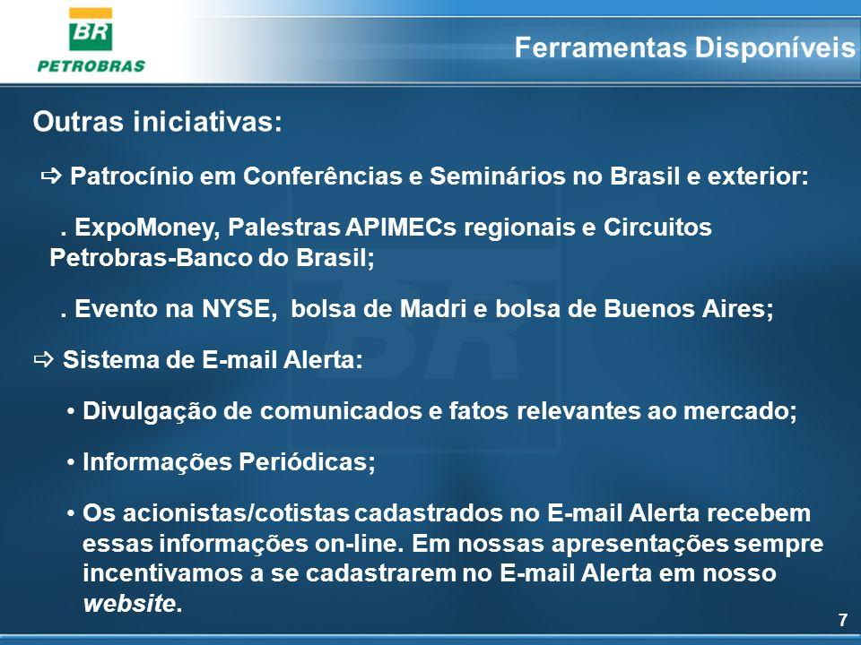 7 Outras iniciativas: Patrocínio em Conferências e Seminários no Brasil e exterior:. ExpoMoney, Palestras APIMECs regionais e Circuitos Petrobras-Banc