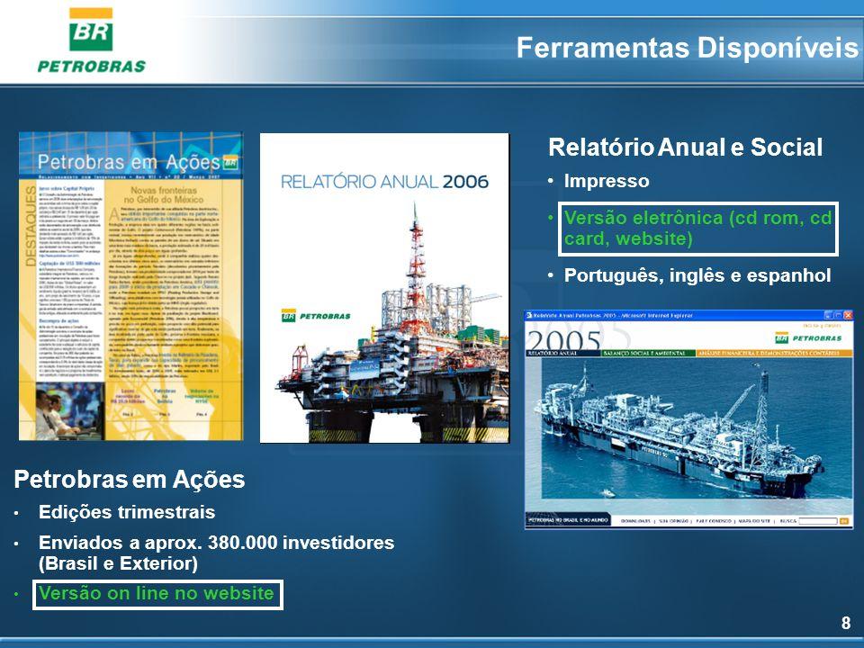 8 Relatório Anual e Social Petrobras em Ações Edições trimestrais Enviados a aprox. 380.000 investidores (Brasil e Exterior) Versão on line no website