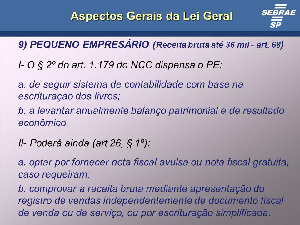 13 Aspectos Gerais da Lei Geral 9) PEQUENO EMPRESÁRIO ( Receita bruta até 36 mil - art.