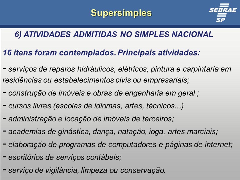 20 Supersimples 6) ATIVIDADES ADMITIDAS NO SIMPLES NACIONAL 16 itens foram contemplados.