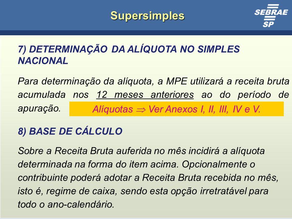 21 Supersimples 7) DETERMINAÇÃO DA ALÍQUOTA NO SIMPLES NACIONAL Para determinação da alíquota, a MPE utilizará a receita bruta acumulada nos 12 meses anteriores ao do período de apuração.