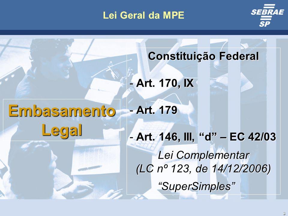3 Lei Geral da MPE EmbasamentoLegal Constituição Federal - Art.