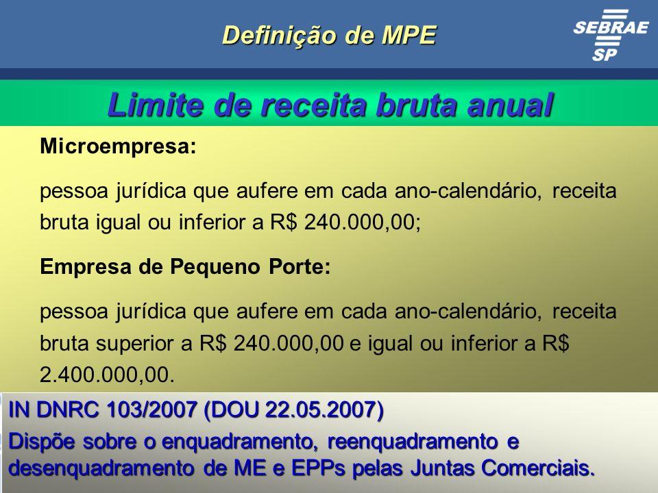 6 Definição de MPE Microempresa: pessoa jurídica que aufere em cada ano-calendário, receita bruta igual ou inferior a R$ 240.000,00; Empresa de Pequeno Porte: pessoa jurídica que aufere em cada ano-calendário, receita bruta superior a R$ 240.000,00 e igual ou inferior a R$ 2.400.000,00.