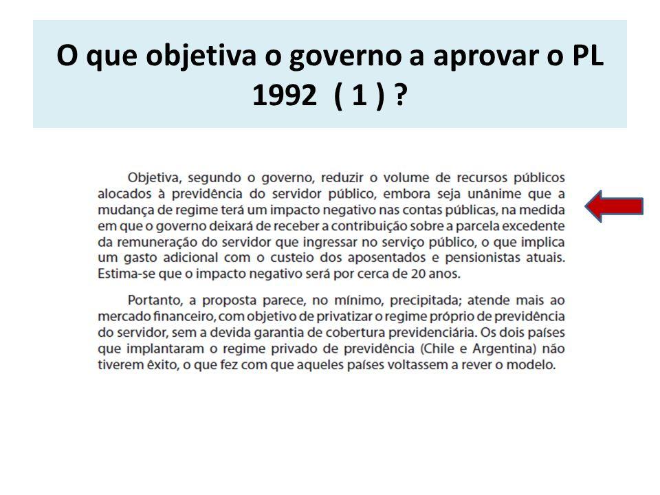 O que objetiva o governo a aprovar o PL 1992 ( 1 ) ?