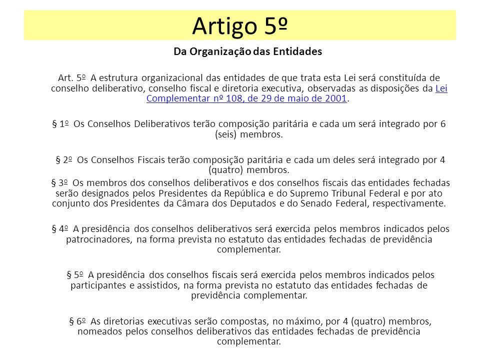 Artigo 5º Da Organização das Entidades Art. 5 o A estrutura organizacional das entidades de que trata esta Lei será constituída de conselho deliberati
