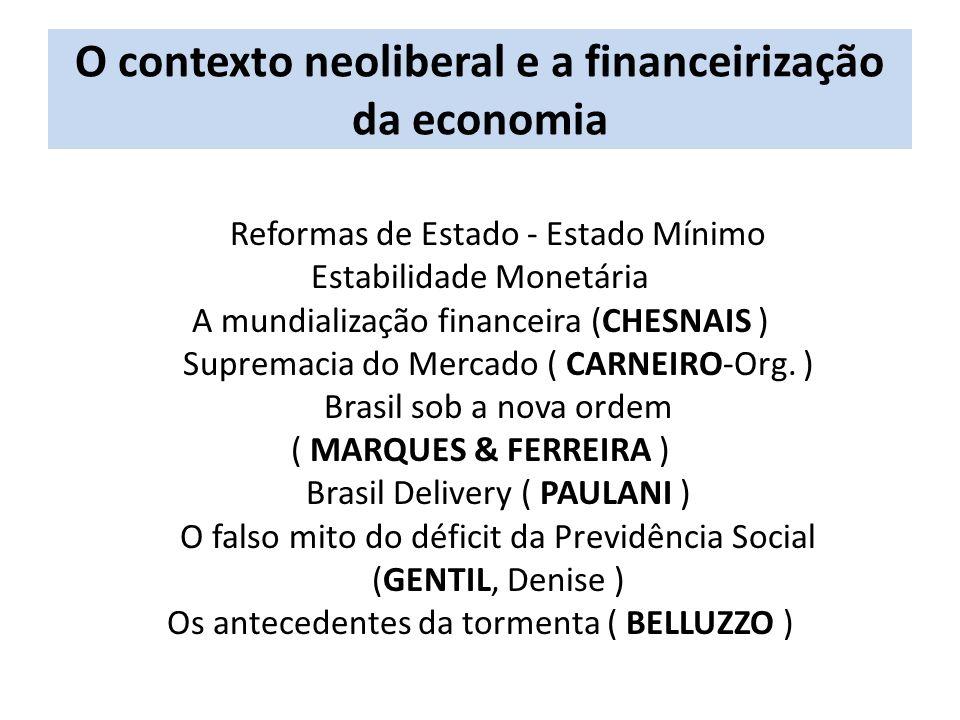 O contexto neoliberal e a financeirização da economia Reformas de Estado - Estado Mínimo Estabilidade Monetária A mundialização financeira (CHESNAIS )