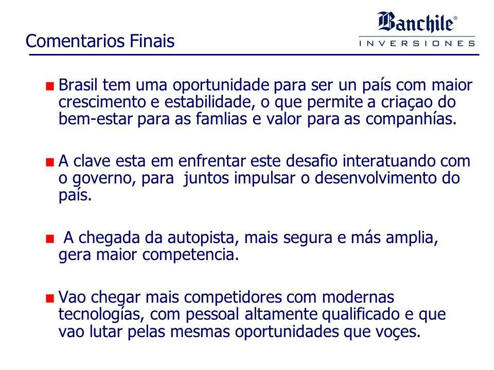 Comentarios Finais Brasil tem uma oportunidade para ser un país com maior crescimento e estabilidade, o que permite a criaçao do bem-estar para as famlias e valor para as companhías.