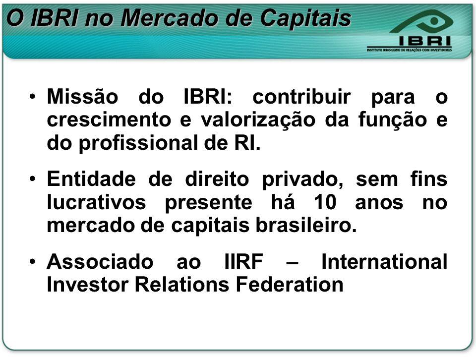 O IBRI no Mercado de Capitais Missão do IBRI: contribuir para o crescimento e valorização da função e do profissional de RI. Entidade de direito priva