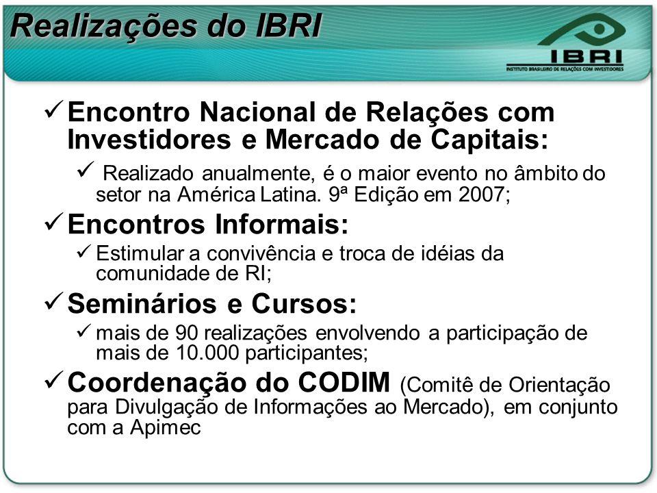 Realizações do IBRI Encontro Nacional de Relações com Investidores e Mercado de Capitais: Realizado anualmente, é o maior evento no âmbito do setor na