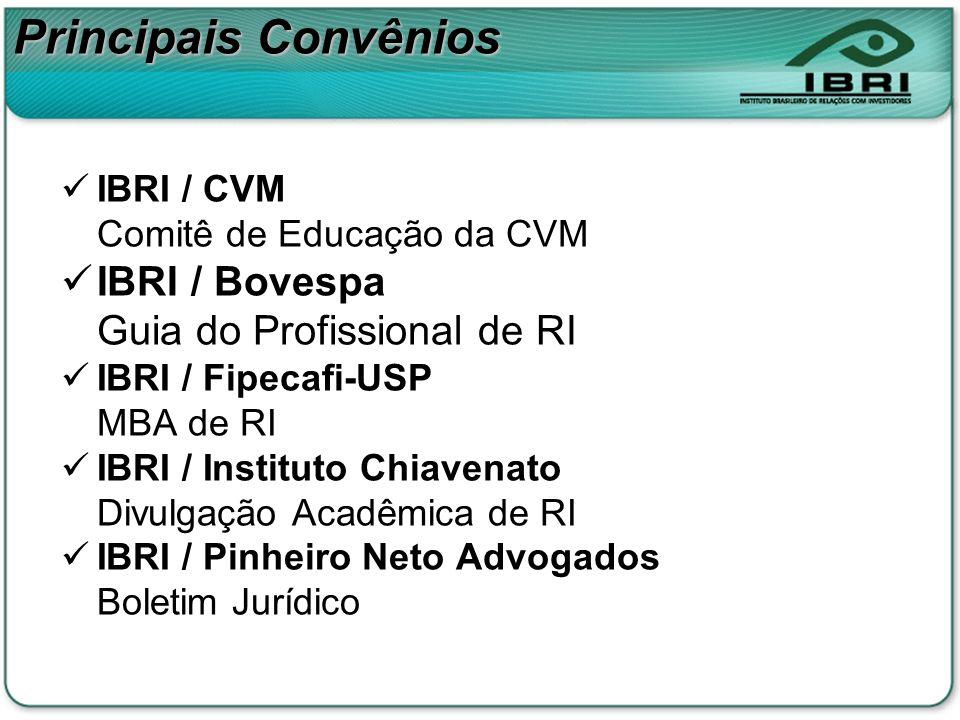 Principais Convênios IBRI / CVM Comitê de Educação da CVM IBRI / Bovespa Guia do Profissional de RI IBRI / Fipecafi-USP MBA de RI IBRI / Instituto Chi