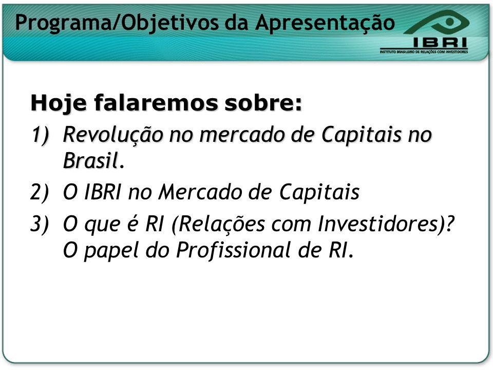 Programa/Objetivos da Apresentação Hoje falaremos sobre: 1)Revolução no mercado de Capitais no Brasil 1)Revolução no mercado de Capitais no Brasil. 2)