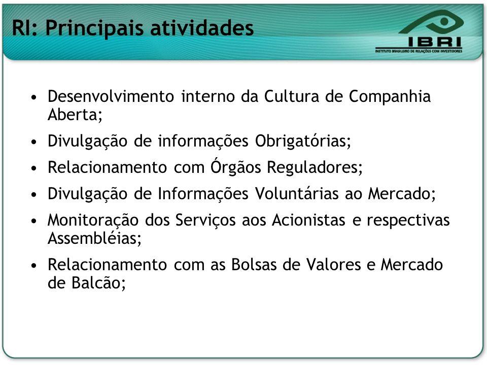 RI: Principais atividades Desenvolvimento interno da Cultura de Companhia Aberta; Divulgação de informações Obrigatórias; Relacionamento com Órgãos Re
