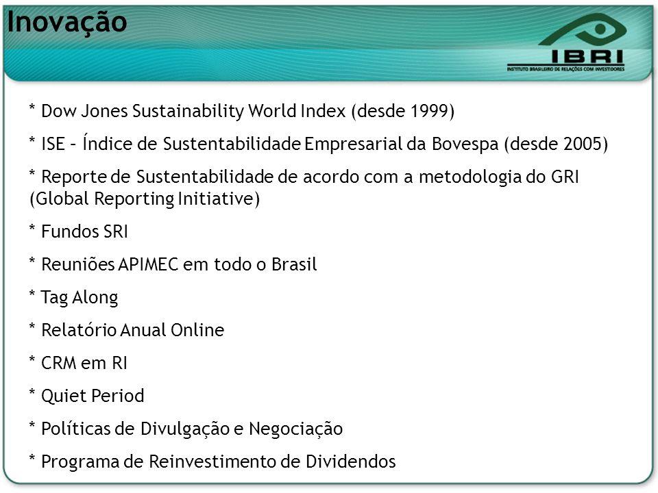 * Dow Jones Sustainability World Index (desde 1999) * ISE – Índice de Sustentabilidade Empresarial da Bovespa (desde 2005) * Reporte de Sustentabilida