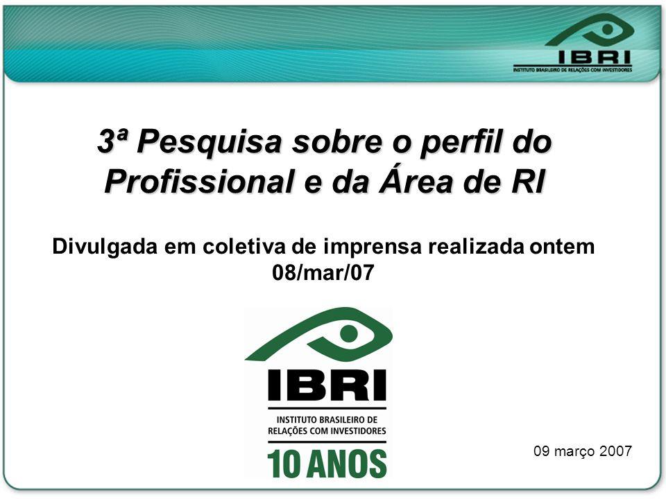 3ª Pesquisa sobre o perfil do Profissional e da Área de RI Divulgada em coletiva de imprensa realizada ontem 08/mar/07 09 março 2007