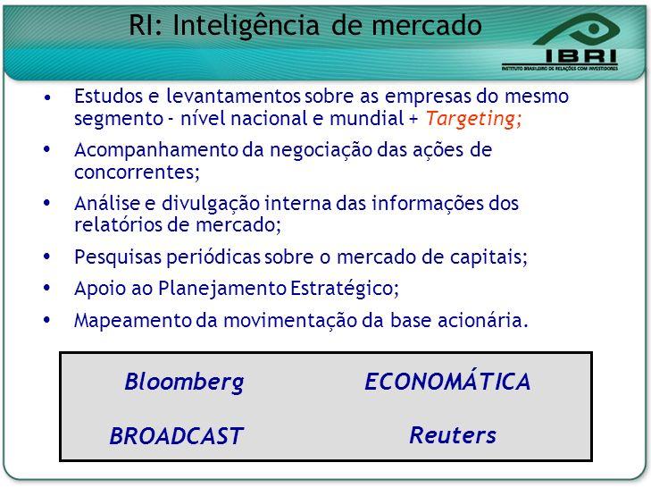 Estudos e levantamentos sobre as empresas do mesmo segmento - nível nacional e mundial + Targeting; Acompanhamento da negociação das ações de concorre
