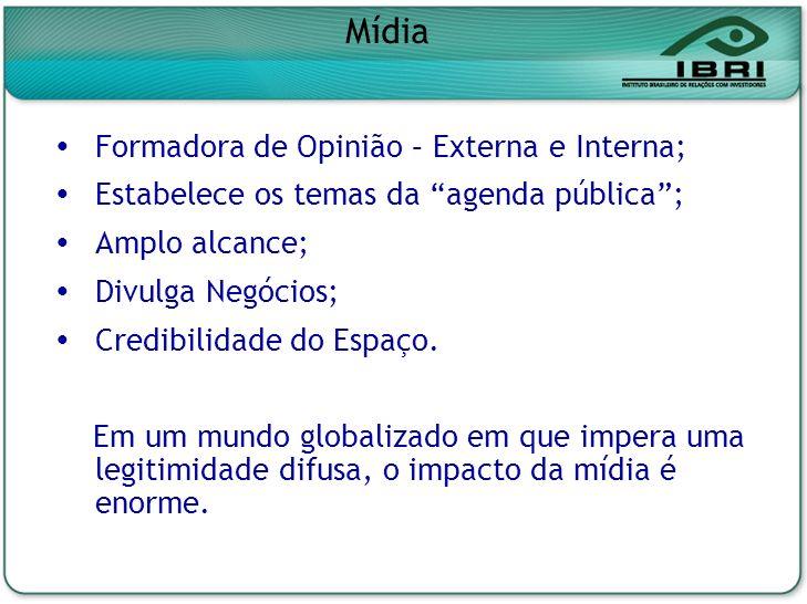 Formadora de Opinião – Externa e Interna; Estabelece os temas da agenda pública; Amplo alcance; Divulga Negócios; Credibilidade do Espaço. Em um mundo
