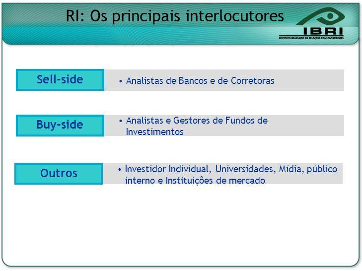 Analistas de Bancos e de Corretoras Analistas e Gestores de Fundos de Investimentos Buy-side Sell-side RI: Os principais interlocutores Investidor Ind