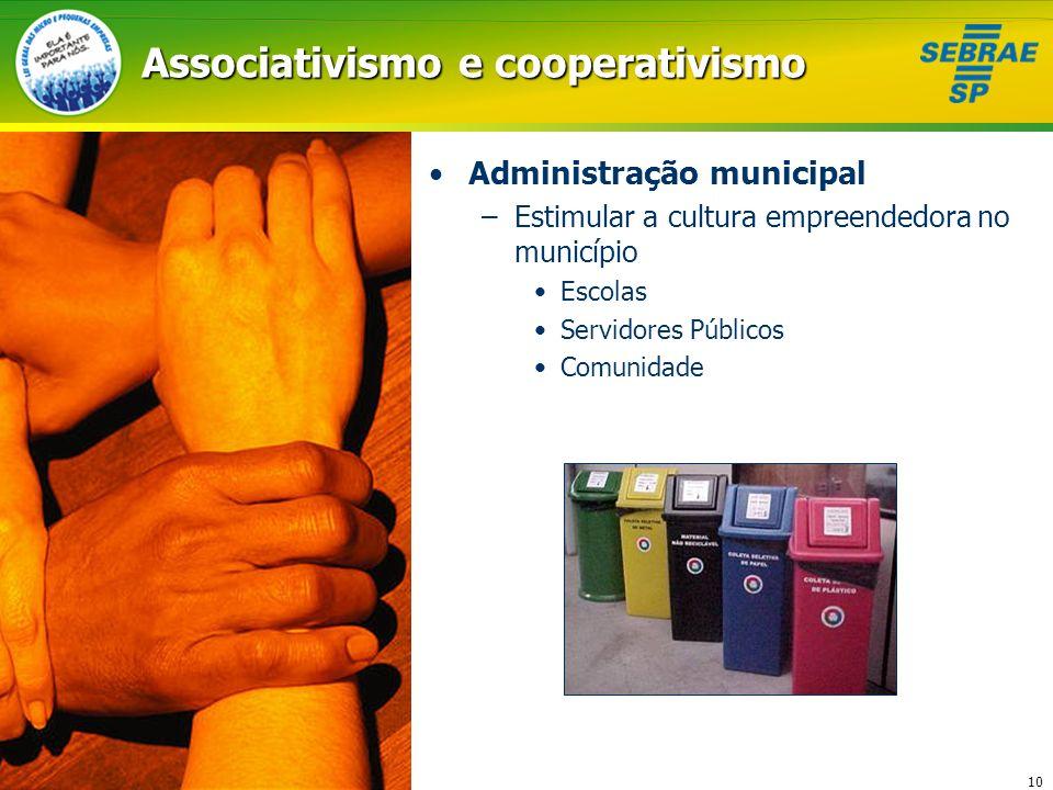 10 Associativismo e cooperativismo Administração municipal –Estimular a cultura empreendedora no município Escolas Servidores Públicos Comunidade