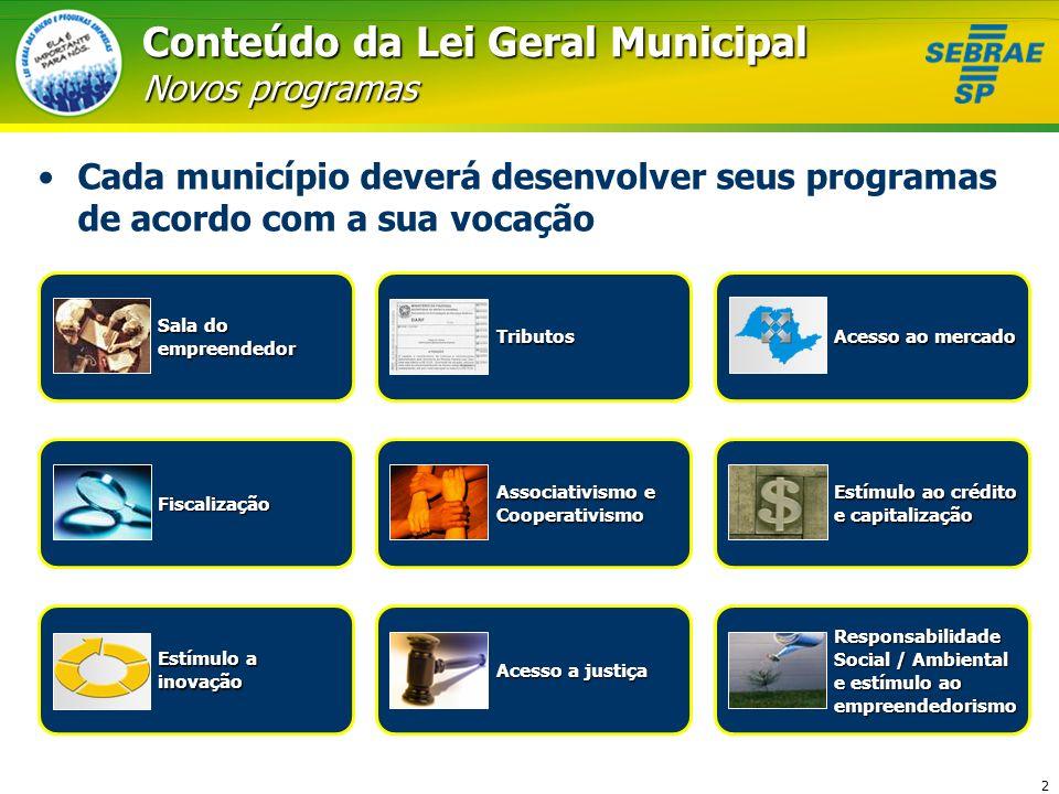 2 Conteúdo da Lei Geral Municipal Novos programas Cada município deverá desenvolver seus programas de acordo com a sua vocação Sala do empreendedorTri