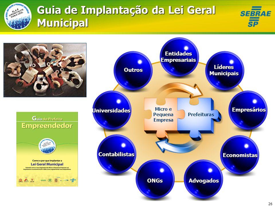 26 Guia de Implantação da Lei Geral Municipal ONGs Contabilistas Universidades Outros Líderes Municipais Empresários Economistas Advogados Entidades E