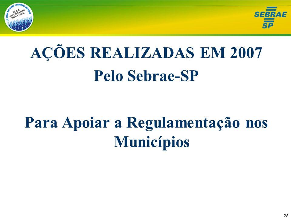 28 AÇÕES REALIZADAS EM 2007 Pelo Sebrae-SP Para Apoiar a Regulamentação nos Municípios