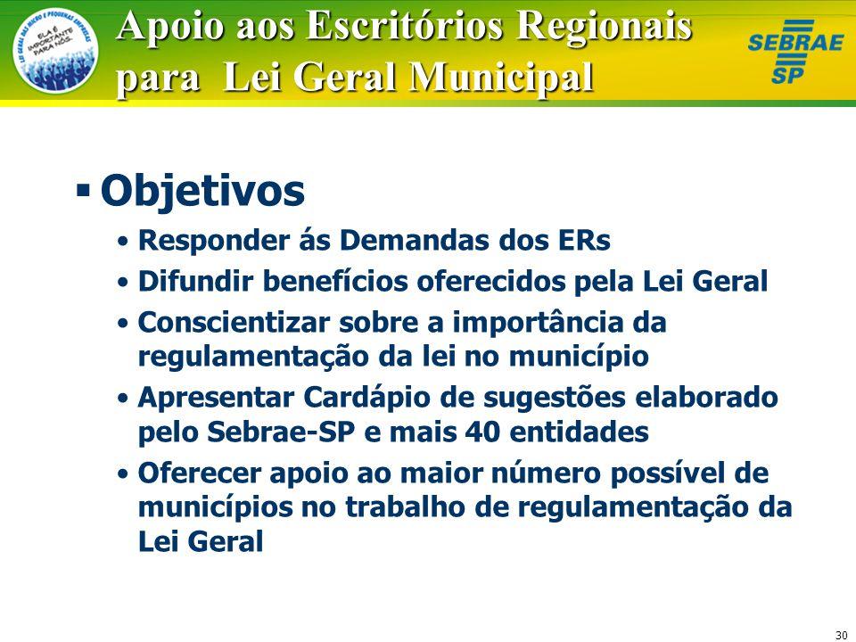30 Apoio aos Escritórios Regionais para Lei Geral Municipal Objetivos Responder ás Demandas dos ERs Difundir benefícios oferecidos pela Lei Geral Cons