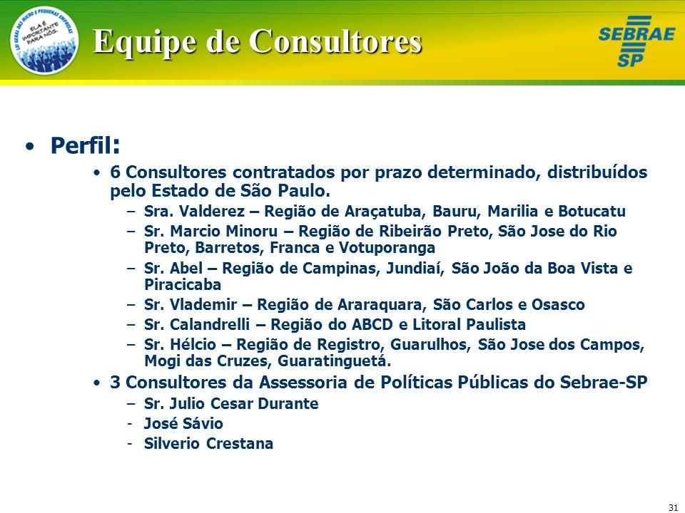 31 Equipe de Consultores Perfil : 6 Consultores contratados por prazo determinado, distribuídos pelo Estado de São Paulo. –Sra. Valderez – Região de A
