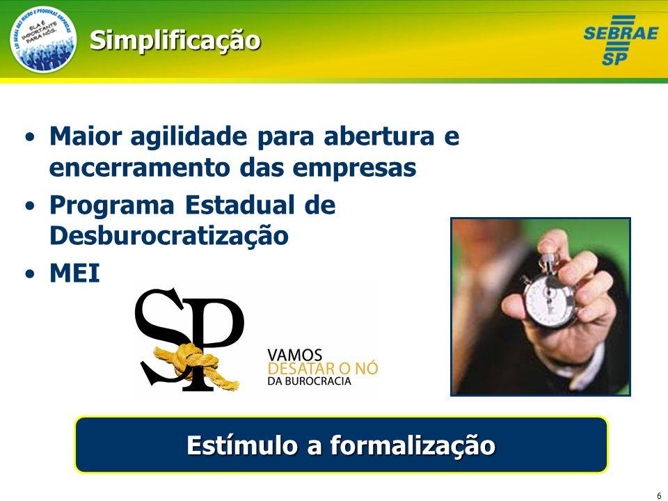 6Simplificação Maior agilidade para abertura e encerramento das empresas Programa Estadual de Desburocratização MEI Estímulo a formalização