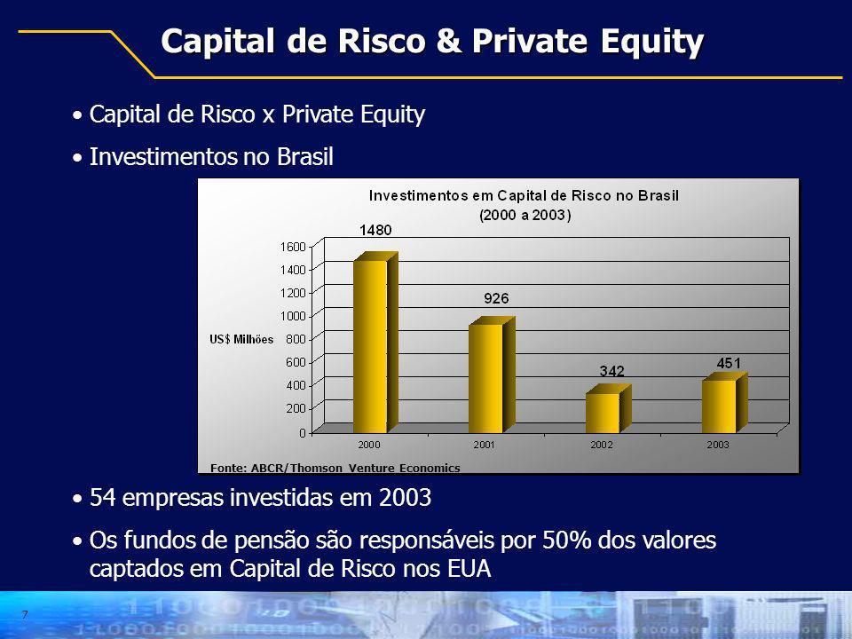7 Capital de Risco & Private Equity Capital de Risco x Private Equity Investimentos no Brasil 54 empresas investidas em 2003 Os fundos de pensão são r