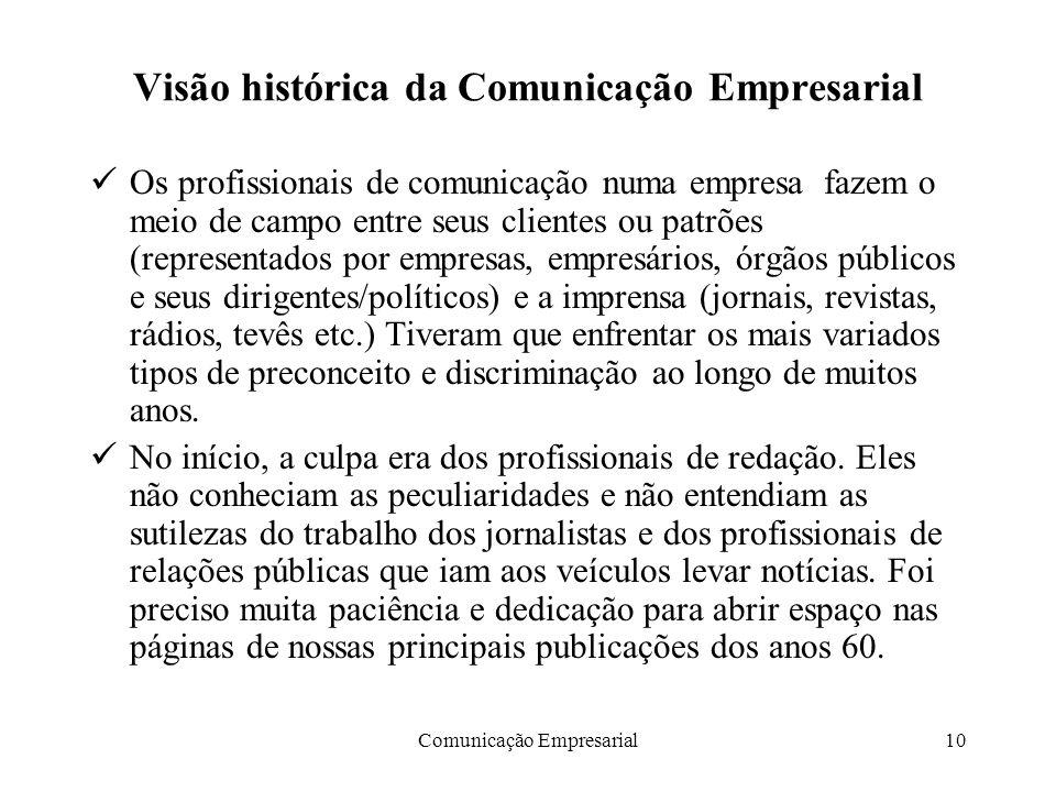 Comunicação Empresarial10 Visão histórica da Comunicação Empresarial Os profissionais de comunicação numa empresa fazem o meio de campo entre seus cli