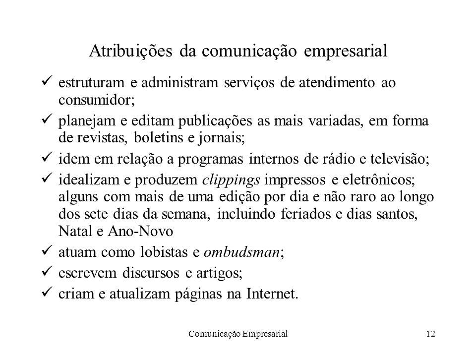 Comunicação Empresarial12 Atribuições da comunicação empresarial estruturam e administram serviços de atendimento ao consumidor; planejam e editam pub