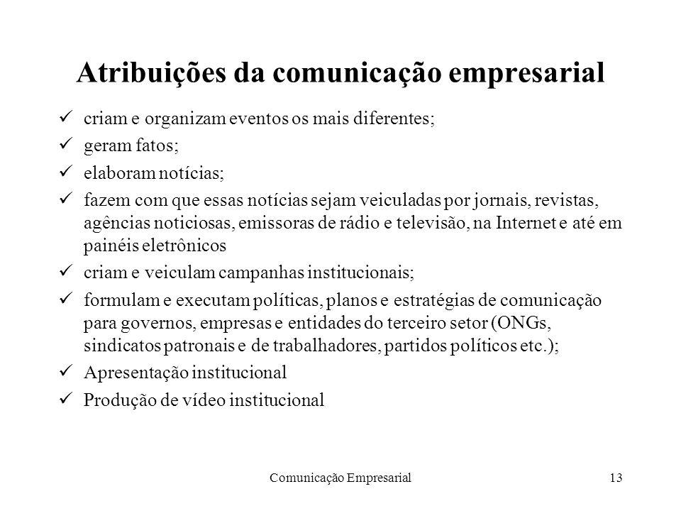 Comunicação Empresarial13 Atribuições da comunicação empresarial criam e organizam eventos os mais diferentes; geram fatos; elaboram notícias; fazem c