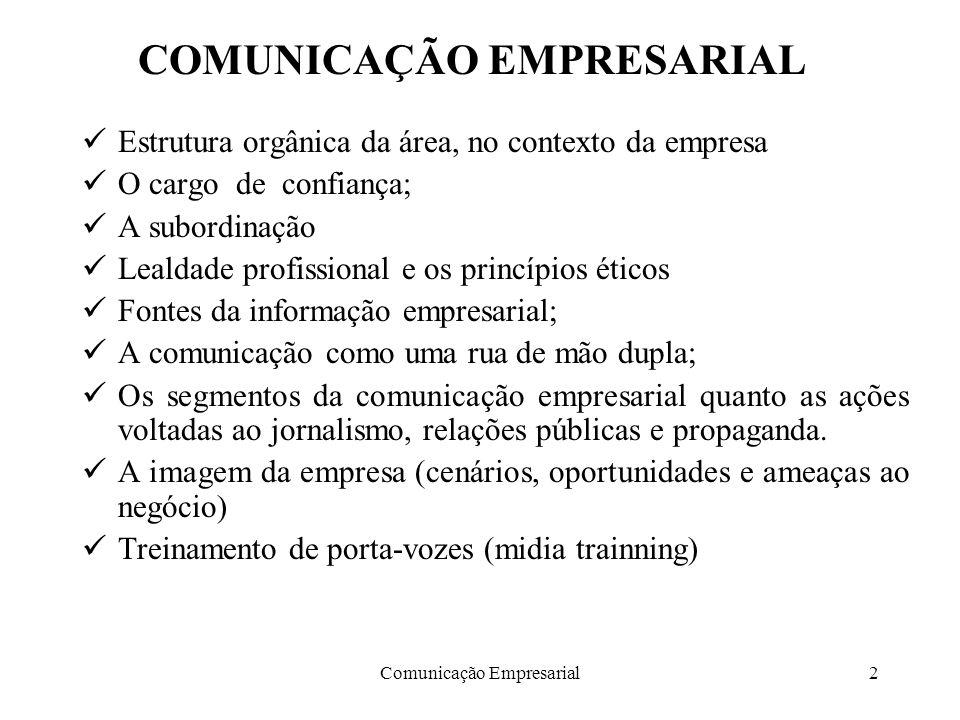Comunicação Empresarial2 COMUNICAÇÃO EMPRESARIAL Estrutura orgânica da área, no contexto da empresa O cargo de confiança; A subordinação Lealdade prof