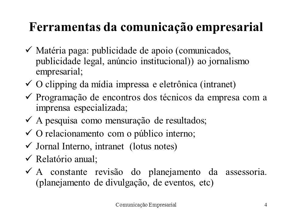 Comunicação Empresarial4 Ferramentas da comunicação empresarial Matéria paga: publicidade de apoio (comunicados, publicidade legal, anúncio institucio