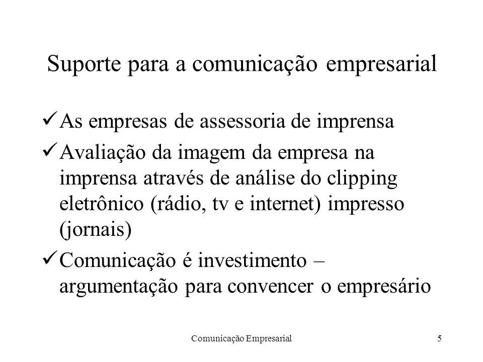Comunicação Empresarial5 Suporte para a comunicação empresarial As empresas de assessoria de imprensa Avaliação da imagem da empresa na imprensa atrav