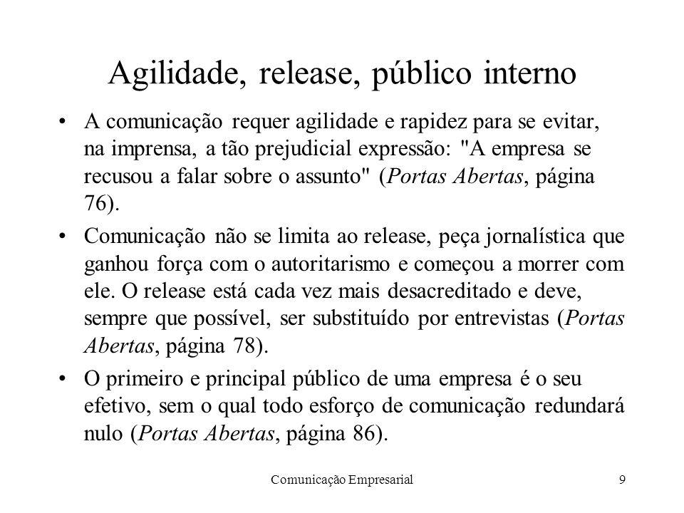 Comunicação Empresarial9 Agilidade, release, público interno A comunicação requer agilidade e rapidez para se evitar, na imprensa, a tão prejudicial e
