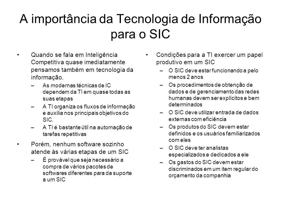 A importância da Tecnologia de Informação para o SIC Quando se fala em Inteligência Competitiva quase imediatamente pensamos também em tecnologia da i