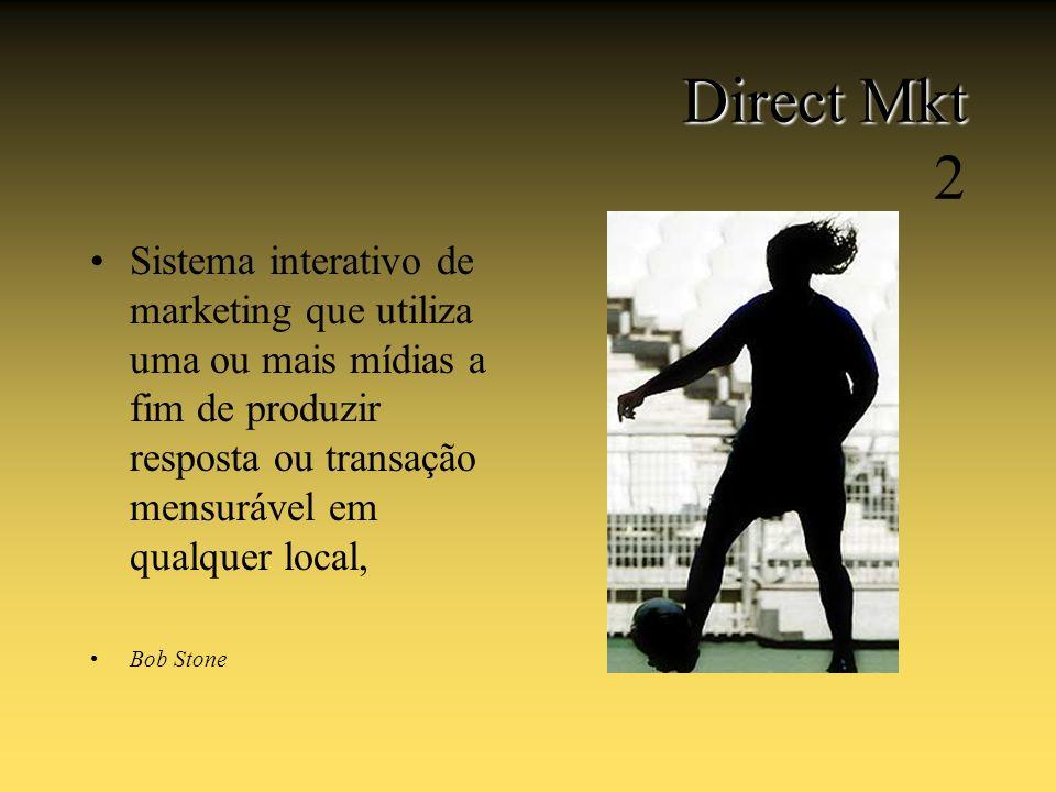 Direct Mkt Direct Mkt 2 Sistema interativo de marketing que utiliza uma ou mais mídias a fim de produzir resposta ou transação mensurável em qualquer