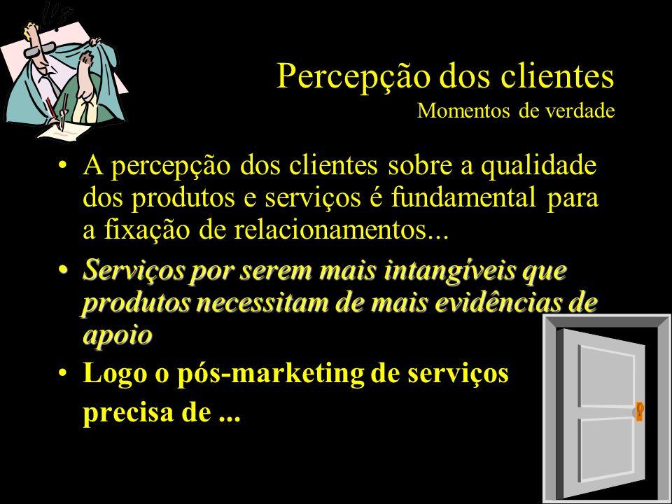 Percepção dos clientes Momentos de verdade A percepção dos clientes sobre a qualidade dos produtos e serviços é fundamental para a fixação de relacion