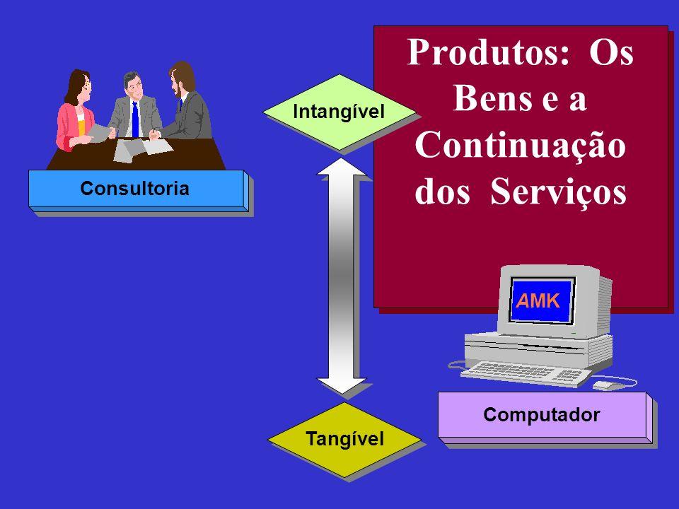 Produtos: Os Bens e a Continuação dos Serviços Intangível Tangível Consultoria Computador AMK