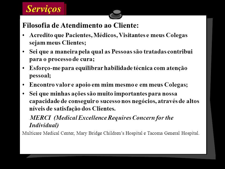 Serviços Filosofia de Atendimento ao Cliente: Acredito que Pacientes, Médicos, Visitantes e meus Colegas sejam meus Clientes; Sei que a maneira pela q
